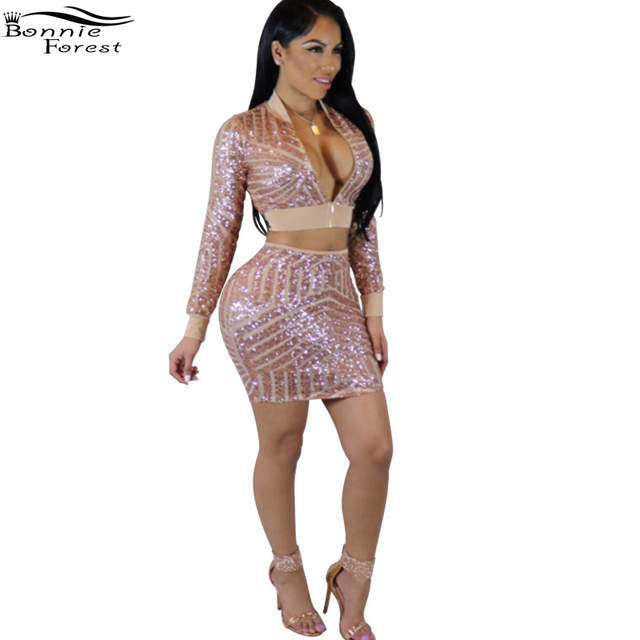 Bonnie Forest Sexy Sequin Dress Suit Two Piece Set Women Long Sleeve