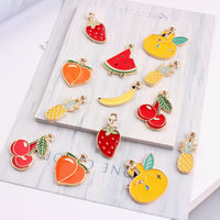 Wholesale 100PCs Gold Tone Plated Enamel Alloy Fruit Charms Oil Drop Banana Cherry Pineapple Peach Watermelon Necklace Pendants