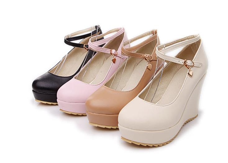 15e2a194f8f03 US $22.23 30% OFF|18 new autumn women's shoes waterproof platform doll  shoes wedges round head shallow mouth Mary Jane shoes large size high  heele-in ...