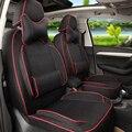 Conjunto Tampa de Assento Do Carro para Kia Cadenza Tampas Do Carro personalizado Cobertura de Pano De linho Almofada Assentos Assentos de Carro Preto Suporta Carro encosto de cabeça