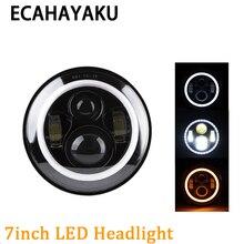 "Купить с кэшбэком ECAHAYAKU 80W 7"" Inch Round LED Headlight DRIVING lights car styling Kit H4 H13 High Low Beam For Lada Jeep Wrangler JK Headlamp"