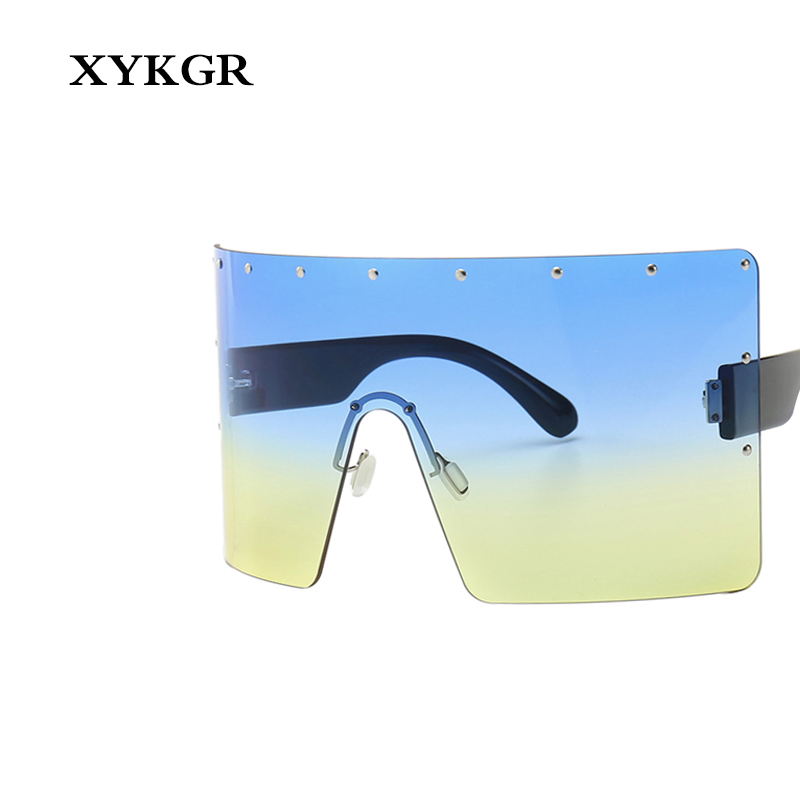 XYKGR new oversized square sunglasses ladies fashion windproof gradient mens retro brown UV400