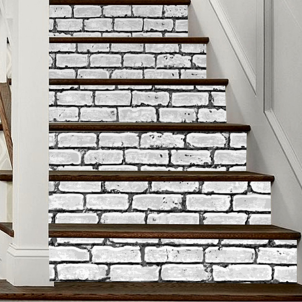 Yazi 6PCS 18x100CM Brick Self Adhesive Stair Sticker Waterproof Vinyl Stairs  Refurbished Wall Sticker Stairway Decor In Wall Stickers From Home U0026 Garden  On ...