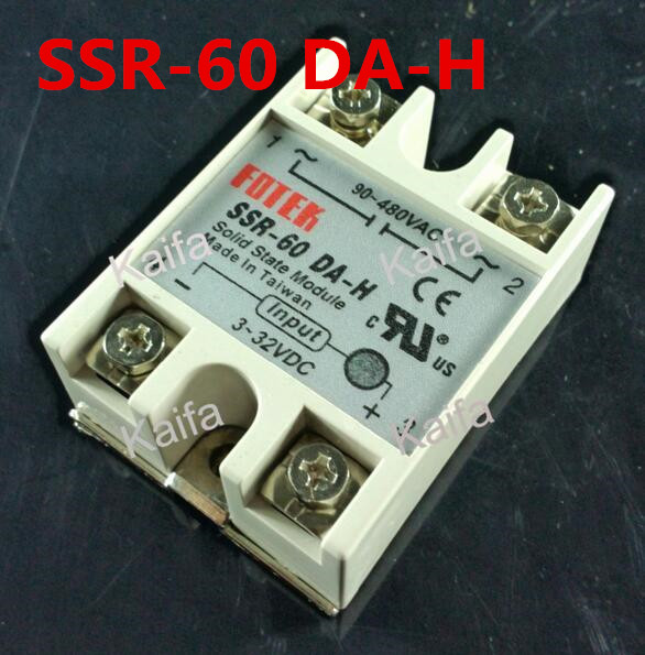 1 Piece Solid State Relay SSR DC Control AC SSR-60 DA-H 3-32V DC To 90-480V AC High Quality white shell 220v 3 32v single phase solid state relay ssr dc control ac fotek 80a ssr 80da