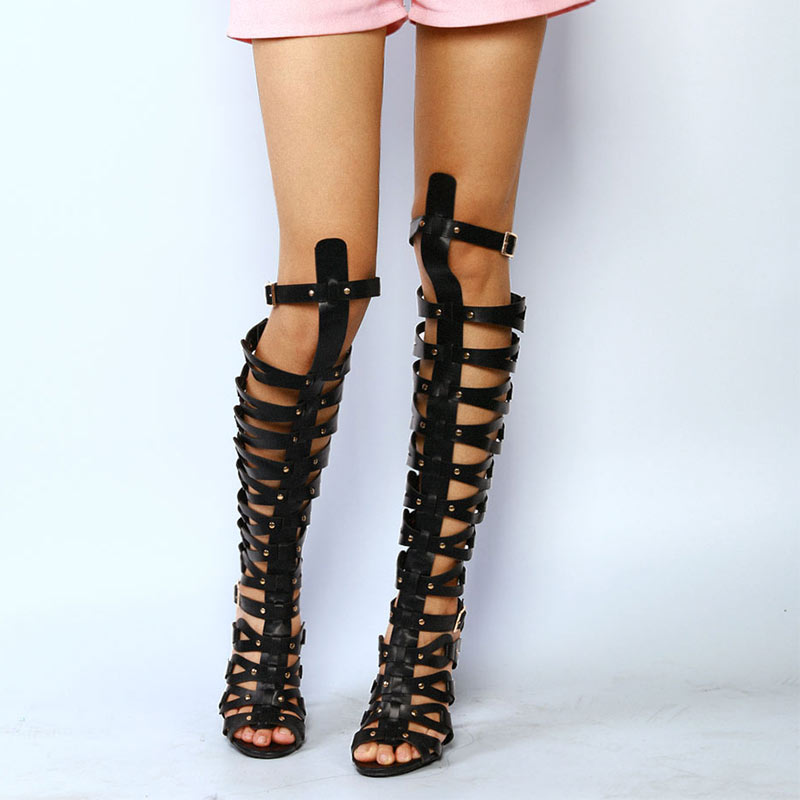 Summer Shoes For Women Fashion Sandals With High Heels Gladiator Sandal Caged Studded Shoes S Ultra