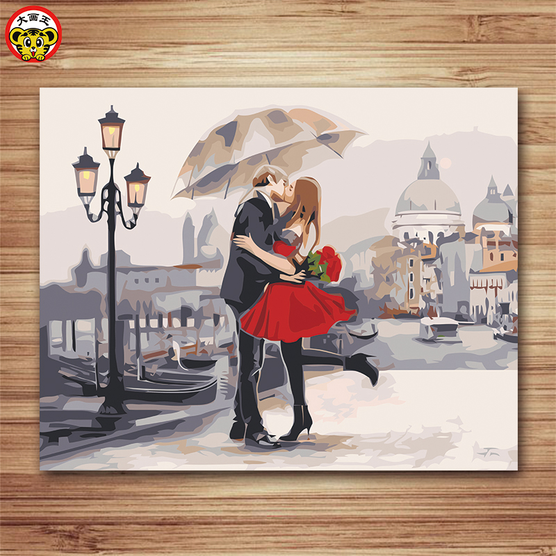 kiss in love oil paint painting by numbers diy picture drawing coloring on canvas painting by hand wall paint landscape Home
