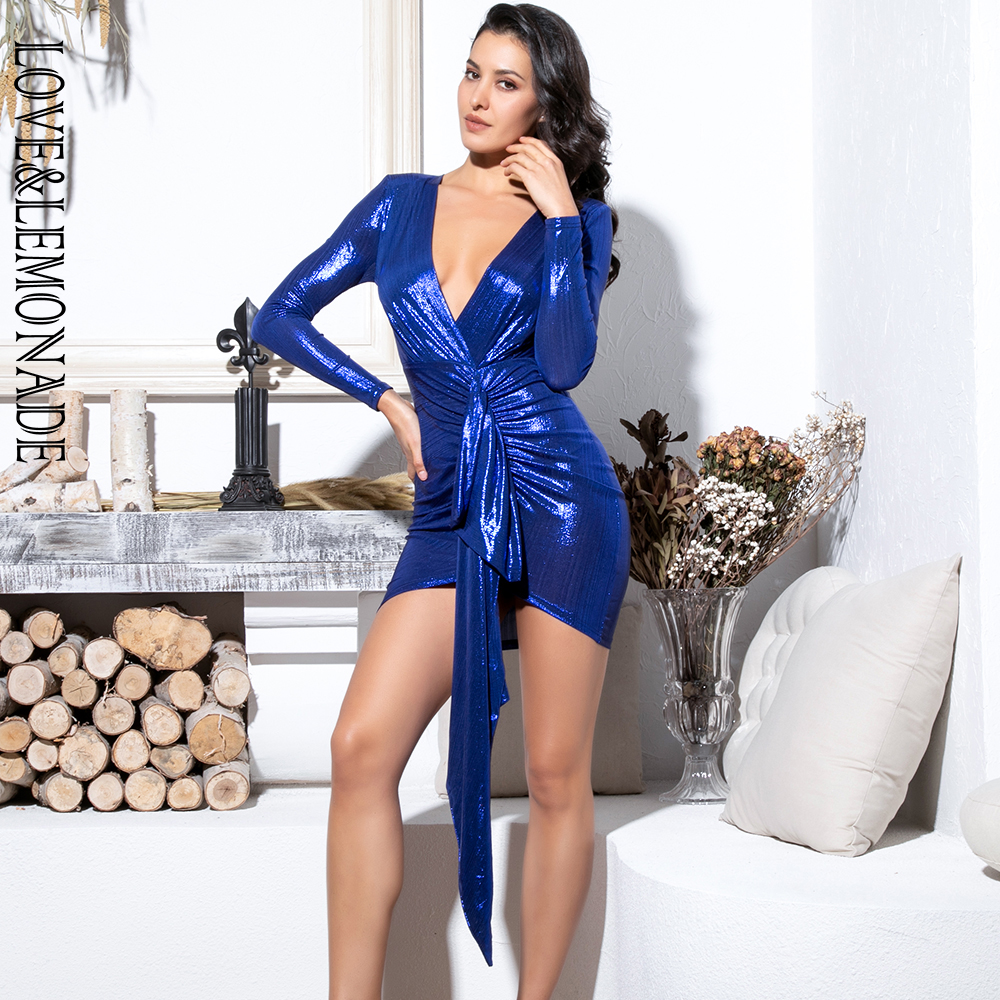 Love&Lemonade Sexy Deep V Neck Pleated Ribbon Decoration Sparkling Fabric Bldycon Going Out Reflective Dress LM81639 BLUE-in Dresses from Women's Clothing    1