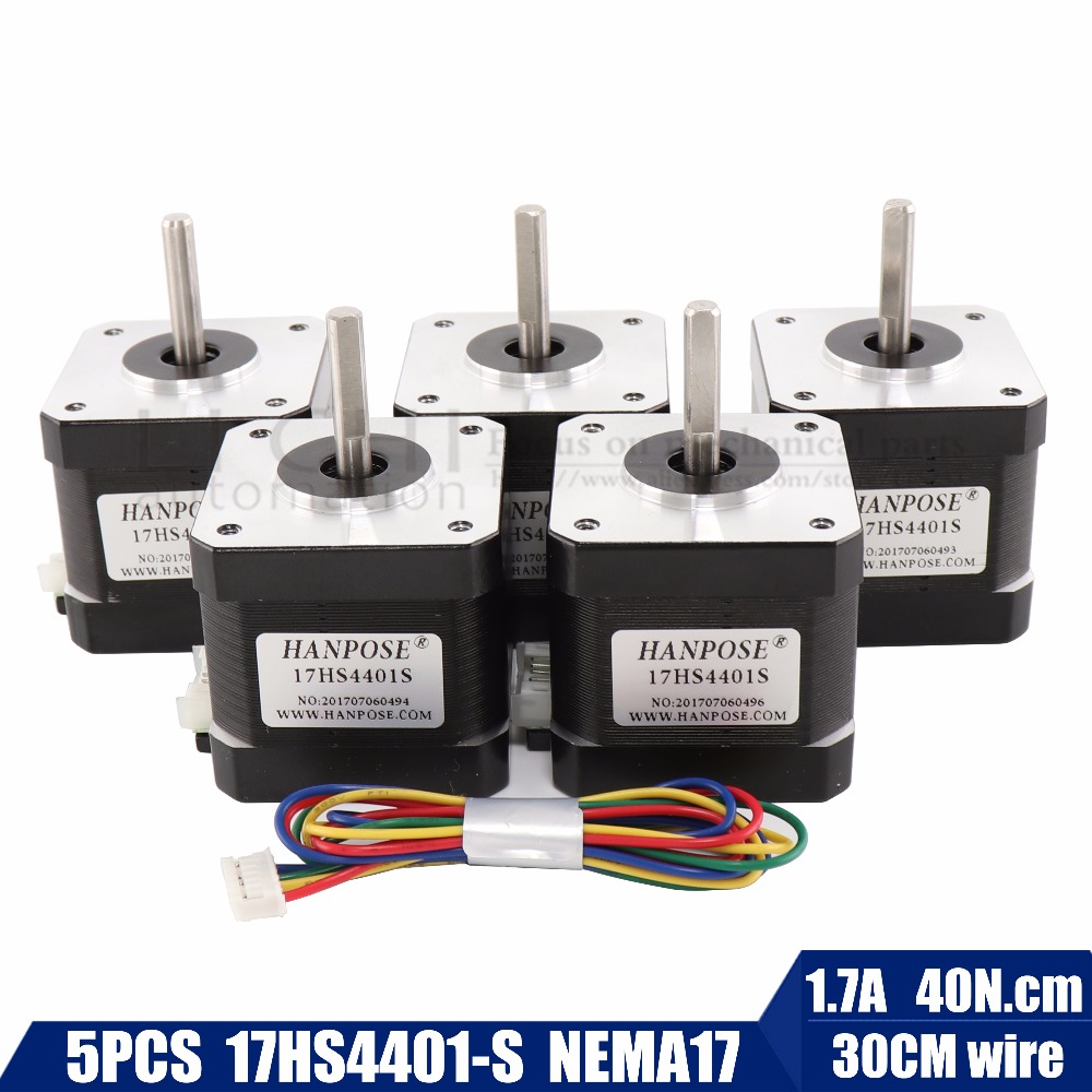 5pcs/lot Free Shipping 3D printer 4-lead Nema17 Stepper Motor 42 motor Nema 17 motor 42BYGH 1.7A (17HS4401S) motor for CNC XYZ