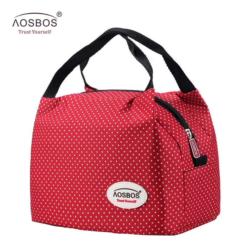 Aosbos Fashion Portable Insulated Canvas lunch Bag Thermal Food Picnic Lunch Bags for Women kids Men Cooler Lunch Box Bag Tote купить