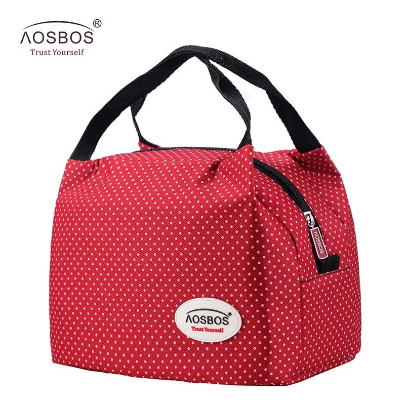 Aosbos Moda Portatile Isolato Tela pranzo al sacco Termico Cibo Picnic Sacchetti pranzo per le Donne bambini Uomini del dispositivo di Raffreddamento Lunch Box Bag Tote