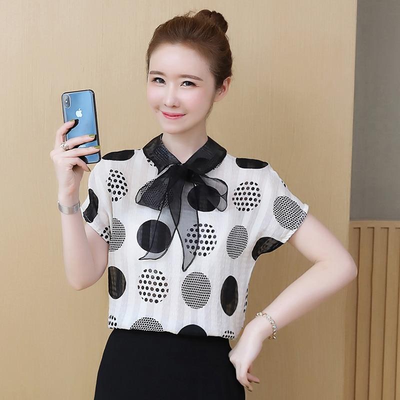 Blusa Summer Shirt Womens Tops and Blouses Polka Dot Print Chiffon Blouse Shirts Bow Short Sleeve Shirt Female in Blouses amp Shirts from Women 39 s Clothing
