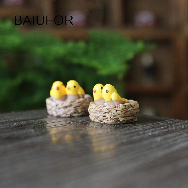 Bird Family Mini Resin Animals Fairy Garden Miniatures DIY Doll House/ Terrarium/ Succulents/ Home/ Micro Landscape Decoration