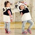 Meninas Colete Com Capuz Crianças Jaquetas Panda Animal Bonito Do Bebê Menina Casaco Quente das Crianças Roupas Outerwear & Casacos de Inverno Panda Colete grosso