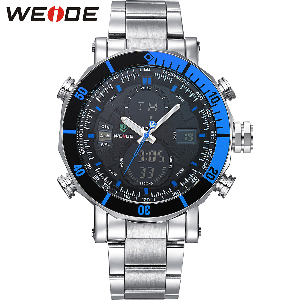ФОТО WEIDE Men Watch Quartz Military Waterproof Top Brand Luxury Blue Dial Wrist Watch with Gift Box relojes deportivos / WH5203
