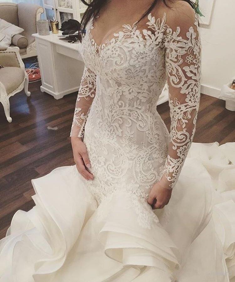 Dentelle Mariée Dubaï 2019 Plein Arabie Robes De Sirène Manches Arabe Bouton Mariage Ruches Avec Robe PXFqqwZ5n