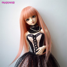MUZIWIG Heat Resistant Long Straight Pink Wigs for BJD Doll
