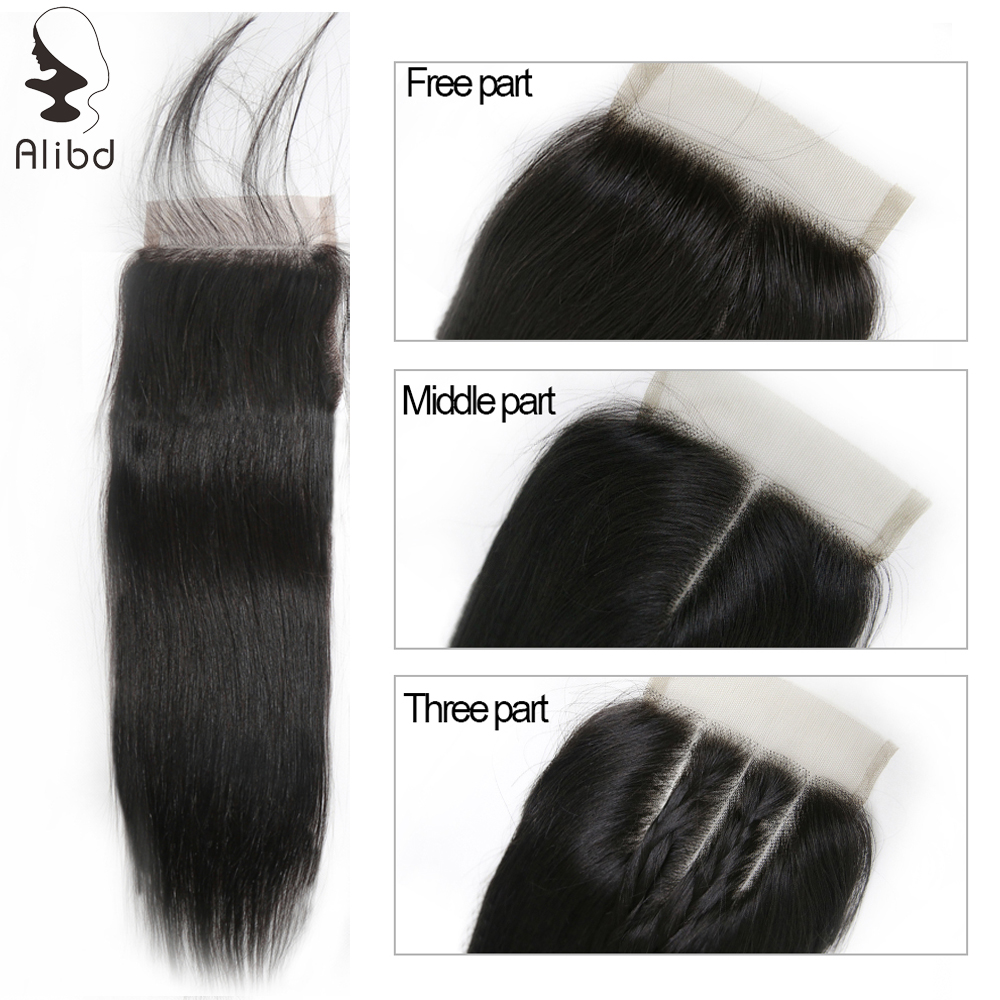 "Alibd 4*4 Free Middle Three Part Lace Closure Straight Human Hair Closure 8-20"" Peruvian Swiss Lace Closures With Baby Hair"