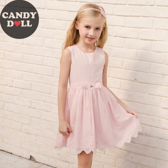 6e1454f353dd CANDYDOLL 2018 Summer Girls Dress Blue Gradient Dresses Vest Princess  Sleeveless Little Girl Vestidos Outfit Clothing for 3-10y