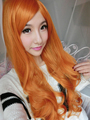 Cheap Synthetic Hair For Women 80cm Long Wavy Curly Orange Purecolor Wig Natural For Cosplay Party Wigs With Bangs Ariel Peruca