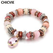 Chicvie розовые браслеты ручной работы в стиле бохо подвески
