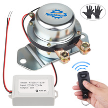Auto Solenoid Electromagnetic Remote Control Battery Switch Isolator Car 12V 24V Disconnect With Gloves