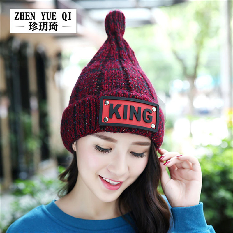 2017 Winter Hat For WomenKnitted King Brand New Bonnet Hip Hop Warm Baggy Cap Wool Gorros Hat Female Skullies Beanies ZY180 men women warm knit skullies bonnet beanie brand new wool winter baggy hat solid color hip hop gorro unisex female cap