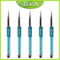 Boqian Turquoise 5 pièces/lot poignée en métal 7mm Nail Art Striper brosse importé en Nylon cheveux Liner dessin brosse