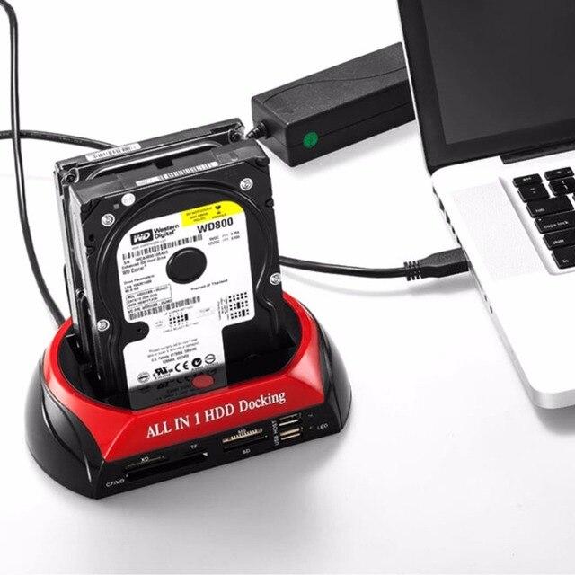 EU Plug HDD Docking Station Dual USB 2.0 2.5/ 3.5 Inch IDE SATA External HDD Box Hard Disk Drive Enclosure Card Reader