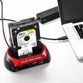 UE Plug HDD Docking Station Dual USB 2.0 2.5/3.5 Pulgadas IDE SATA HDD Caja Externa Caja de Disco Duro Lector de Tarjetas