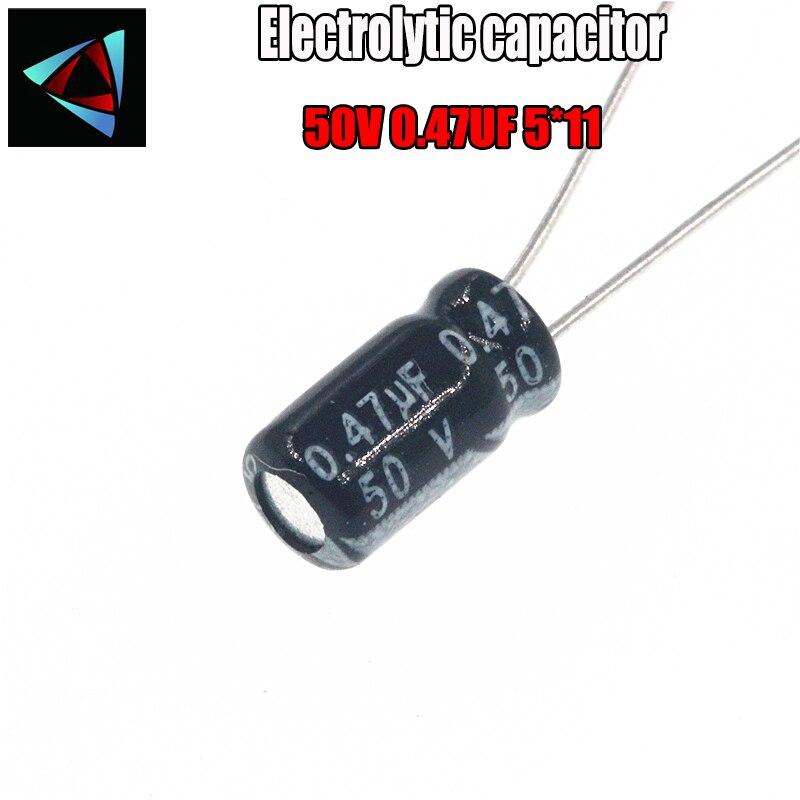 30PCS Higt Quality 50V 0.47UF 5*11mm 0.47UF 50V 5*11 Electrolytic Capacitor