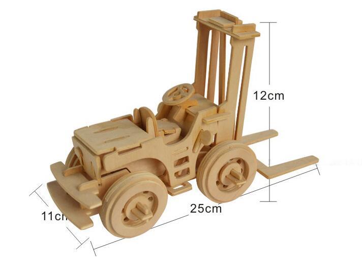 Моделирование игрушка вилочный погрузчик модель 3d трехмерные деревянные головоломки игрушки для детей Diy ручной работы деревянные пазлы