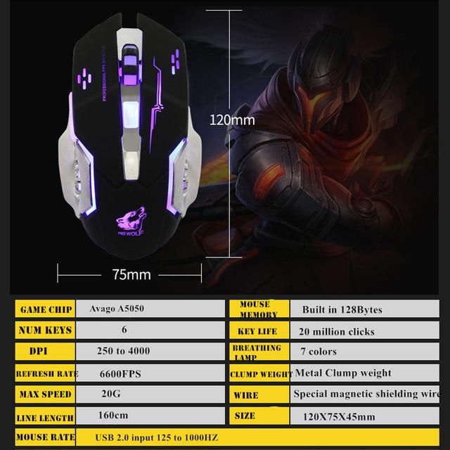 Ratón para juegos por cable profesional, 6 botones, 4000 DPI, ratón óptico USB con LED, juego inalámbrico, silencioso para PC y portátil 6