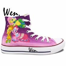 Wen Hand Painted Shoes Design Custom Sneakers Cute Little Horse Men Women Purple High Top Canvas Sneakers