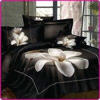 Black Bedsheet White Mangnolia Flower 100 Cotton Bed Set Queen King Size Bedcloth 3D Bedding Set luxury Duvet/Quilt Cover Sets