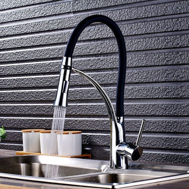 Chrome Kitchen Sink Faucet Swivel Pull Down Kitchen Faucet Sink Tap Mounted Deck Bathroom Mounted Hot and Cold Water Mixer