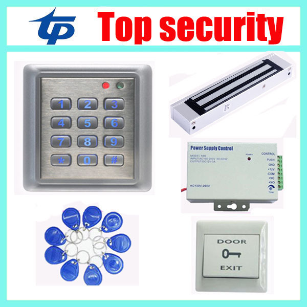 Access control kit contain waterproof card and pin access controller +power supply+magnetic lock+PC exit button+10pcs RFID key access control systems proximity card waterproof standalone access control power supply magnetic lock exit button 10pcs rfid key