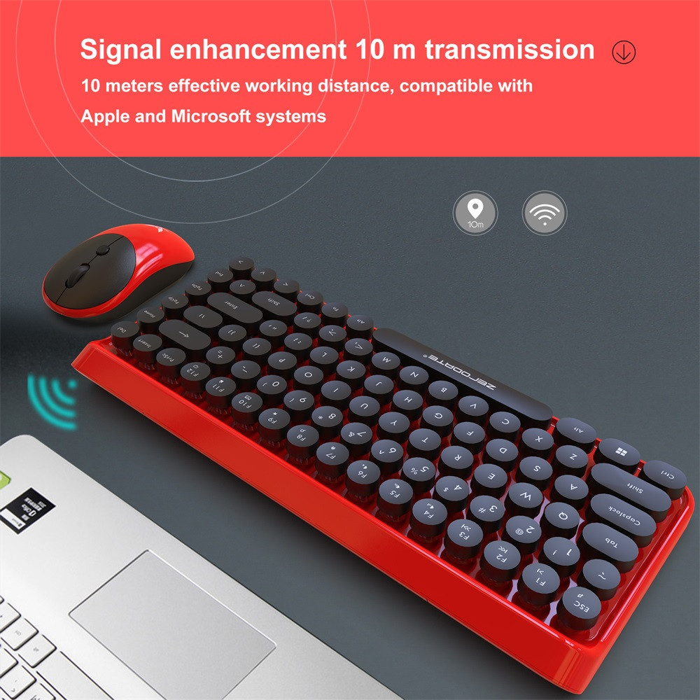 2.4ghz Retro Style 84 Keys Wireless Gaming Keyboard And Mouse Set Desktop Keyboard Mouse Combo