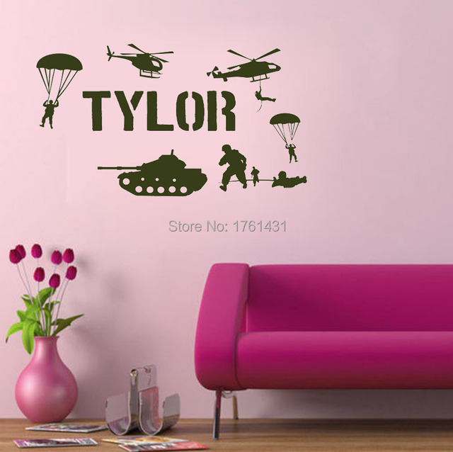 Custom Name Military Army Soldiers Boys wall decals vinyl stickers ...