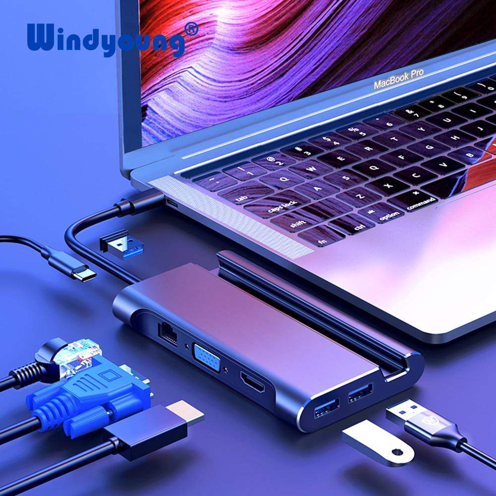 USB C Type C HUB to USB 3 0 Thunderbolt 3 HDMI VGA RJ45 PD Adapter