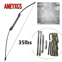 1set Archery 35/40lbs Recurve Bow 56inch Straight Bow Hunting Takedown Right/Left Hand For Outdoor Shooting Practice Accessories 40lbs archery bow hunting straight longbow for outdoor practice target shooting fishing sport games slingshot tade down long bow