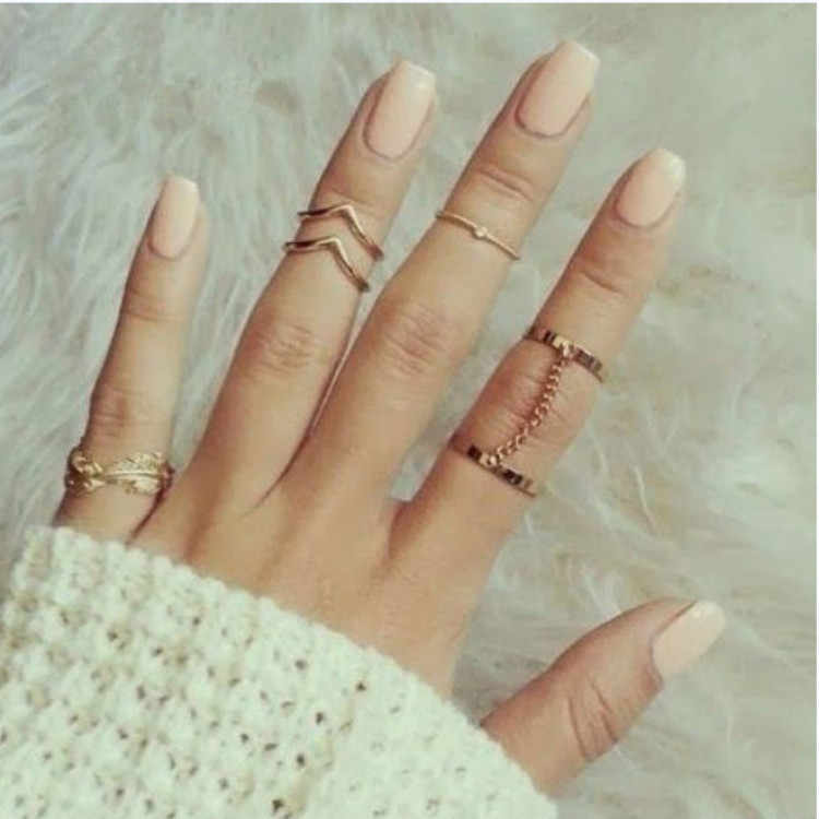 2018 New 6pcs /lot Shiny Punk Style Stacking Midi Finger Knuckle Rings Charm Leaf Ring Set for Women Jewelry