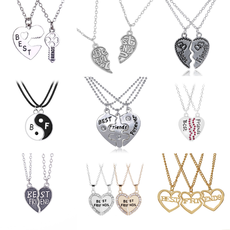 New Hot Heart Broken Style 2-Piece And 3 Parts Pendant Necklace Best Friend Forever Necklace Jewelry Gift For Girl bracelet