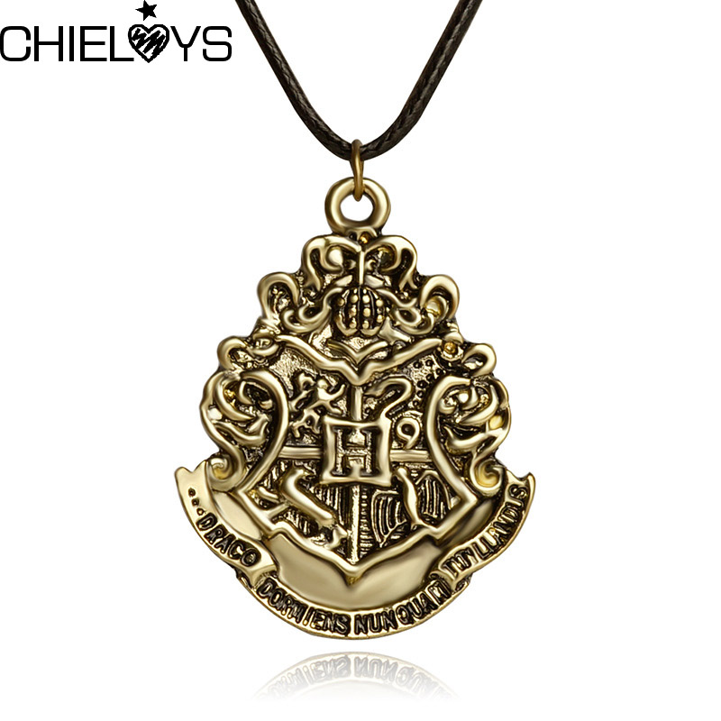 CHIELOYS New Products Hot European and American Movie Accessories Harry P Hogwarts Magic School Wave Peak Leather Necklace
