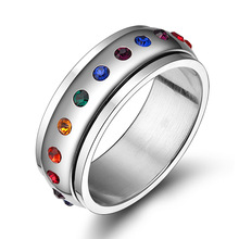 New Fashion Popular Hot Cool Novelty Design Rotating Spinner Ring For Women With Rainbow Crystal Multicolor Rhinestone Gift