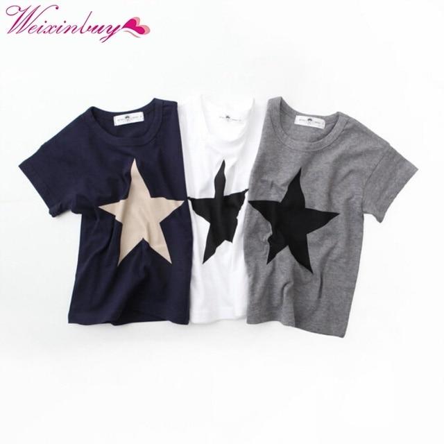 קיץ ילדים בני כוכב הדפסת ילדי תינוק קצר שרוול בגדי Roupas Infantis Menino עבור 2-7 T