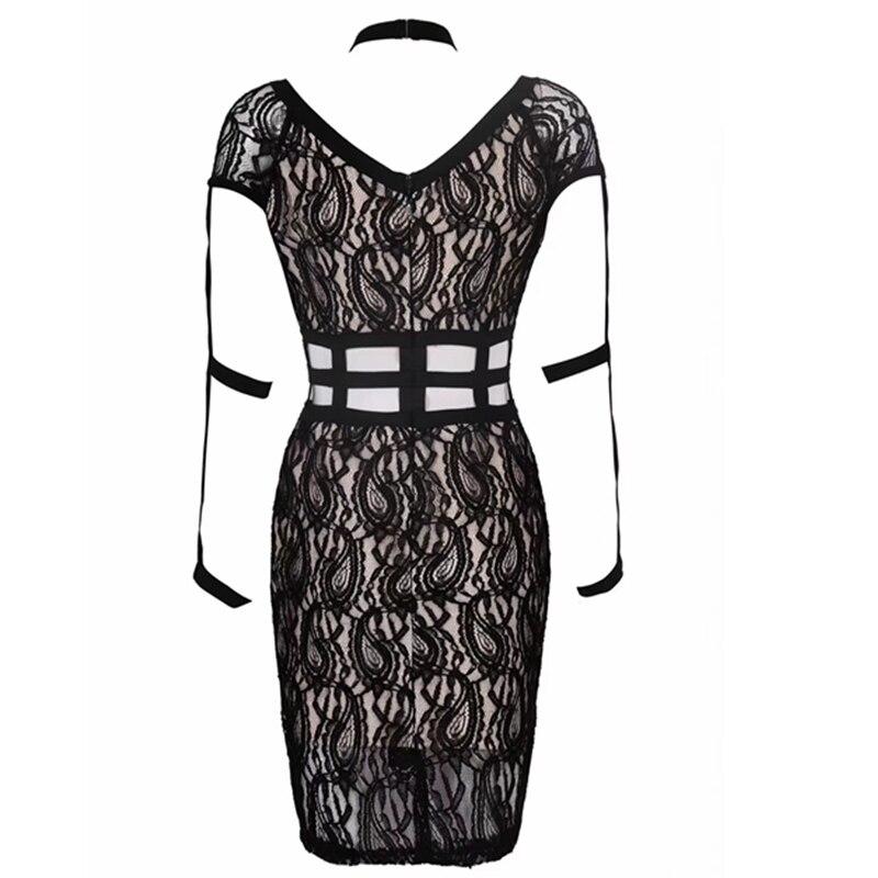 2019 Robes Celebrity D'été Patchwork Halter Soirée Noir Sexy Élégant Date Lacée De Femmes Festa Moulante Maille Robe IbmfYv6gy7