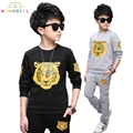 Baby boys Teenager clothes casual cartoon tiger print sets spring clothes top +pants 2pcs toddler Kids Tracksuit Sport Suit L305