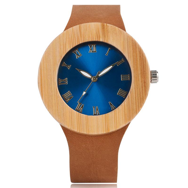 Natur Trä Handgjorda Läder Rem Kvinnor Kreativa Klockor Ny Ankomst Blå Ansikte Trä Present Armbandsur Sport Bambu Relogio