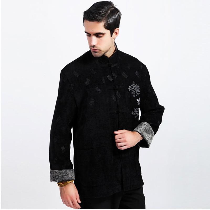 Black Winter New Thick Men Corduroy Jacket Chinese Style Embroidery Coat Overcoat Dragon Totem Size M L XL XXL XXXL
