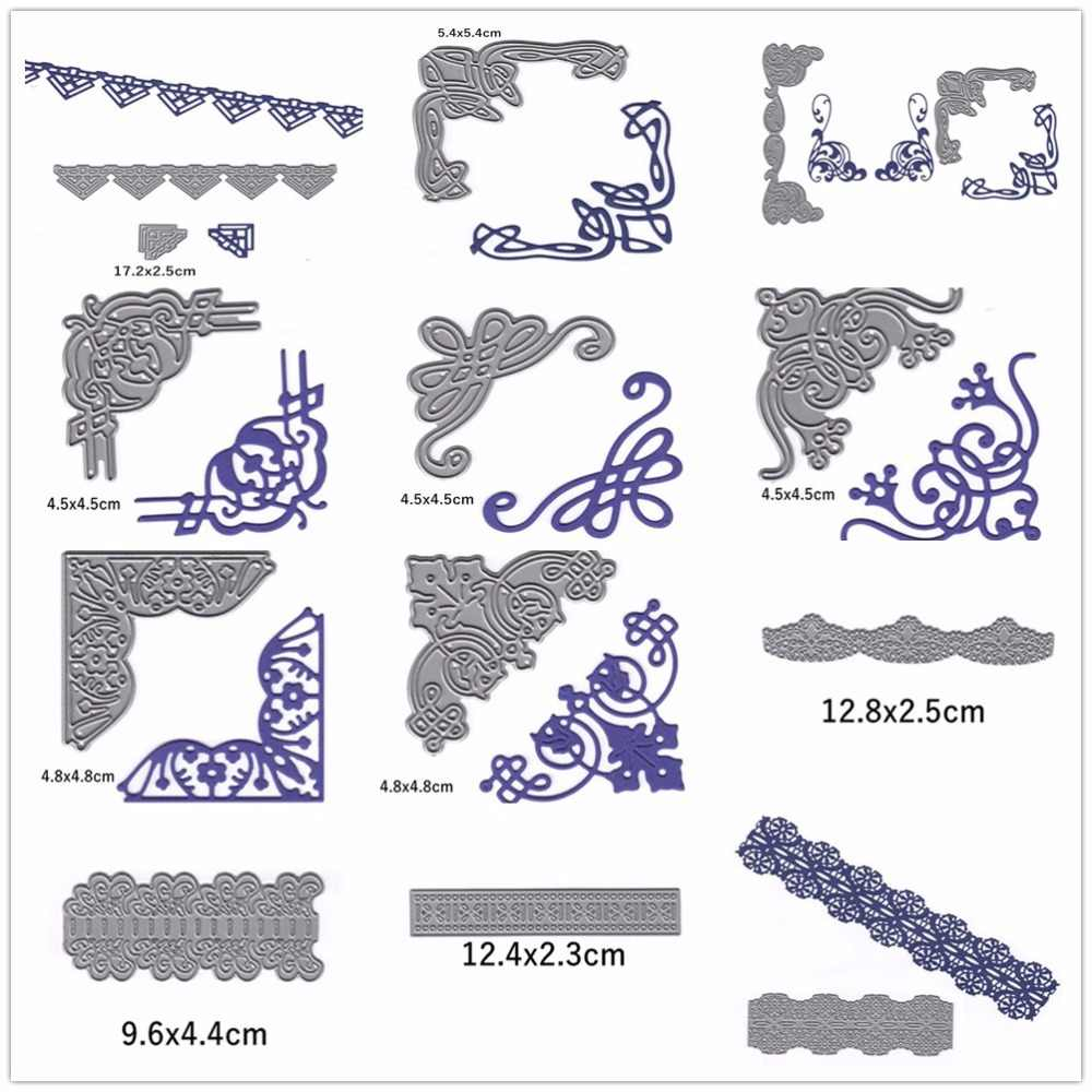 Various Lace Corners Shape Metal Cutting Dies Stencil Scrapbook Album Embossing For Gift Card Making Handcraft Decor